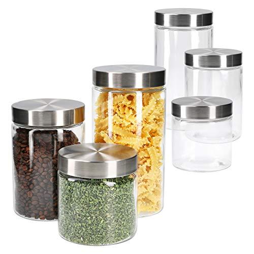 MamboCat 6-TLG. Set Vorratsglas Bera mit Edelstahldeckel Silber I Ø 11 cm I 800 ml + 1.2L + 1.7L I befüllbare Glasdosen I Runddosen I Aufbewahrungsbehälter