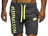 LEIF NELSON Gym Herren Shorts Kurze Fitnesshose - Jogginghose | Moderne Schwarze Männer Kurze Trainingshose Top | Herren Sport-Hose für Bodybuilding Fitness | 6296 Anthrazit-Gelb X-Large