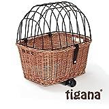 Tigana - Hundefahrradkorb für Gepäckträger aus Weide Natur 44 x 34 cm mit Metallgitter und Kissen eckig Tierkorb Hundekorb für Fahrrad (N-S)