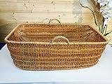 Babykorb Wäschekorb Weidenkorb Tragekorb - 84 x 50 x 31cm, gross mit Griff, Handarbeit, sehr stabil - von Alpenfell