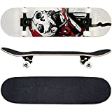 FunTomia Skateboard mit MACH1 ABEC-11 Kugellager und Rillen-Profil Rollen (Rollenhärte 100A) aus 100% 7-lagigem kanadischem Ahornholz (Es stehen verschiedene Farbdesigns zur auswahl) (Totenkopf Weiß)
