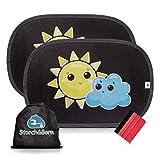 Auto Sonnenschutz von Storch&Born | Premium Sonnenblende mit Andrückrakel und Aufbewahrungstasche | Selbsthaftende Sonnenschutzblende für Ihre Autoscheiben | 2 Stück - 48cm x 32,5cm