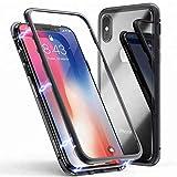 Mediatech iPhone X/XS Magnetische Adsorption Handyhülle Case mit Eingebauter Magnet Funktion, Ultra Dünn 360 Grad Cover Metallrahmen Hartglas für iPhone X/XS (Transparent Schwarz 5.8 Bumper)