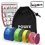POWRX Premium Fitnessbänder mit Tasche und virtuellem Trainingsposter - Klimmzug-Band für Calisthenics Workout - Resistance Band/Widerstandsband in versch. Größen