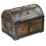 Piraten-Schatztruhe von Thunderdog - Holztruhe braun - Handarbeit Vintage mit Schloss 28x20x20cm (groß mit Schloss)