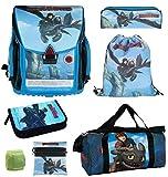 Dragons Schulranzen-Set 7-teilig mit Federmappe gefüllt, Sporttasche und Regenschutz Drachen-zähmen leicht gemacht Drache Ohnezahn