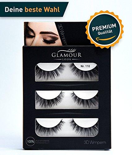 GlamourLook Professional 3D Wimpern - 3 Paar fake lashes falsche wimpern künstliche wimpern 3d lashes - wiederverwendbar - 100% Naturseide - Schneller Versand & Beste Qualität