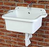 Ausgussbecken | Waschbecken | Spülbecken | Waschtrog | Becken inkl. Ablaufgarnitur und Schrauben und Dübel für die Wandbefestigung