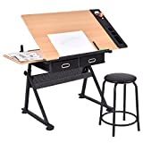 COSTWAY Zeichentisch Schreibtisch Architektentisch Arbeitstisch Tisch Bürotisch mit Schubladen + Hocker höhenverstellbar neigbar
