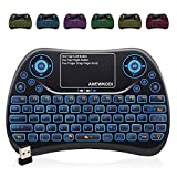 Mini Tastatur Wireless mit Touchpad , Smart TV Tastatur Fernbedienung, 2.4 GHz Wireless Backlit QWERTZ Mini Tastatur Beleuchtet für HTPC,IPTV,Android TV-Box,XBOX360,PS3,PC(2019 Aktualisierte Version)