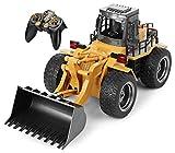 Voll funktionsfähiger Frontlader von Top Race 6 Channel , ferngesteuerter Bautraktor mit Lichtern & Klängen von 2,4 Ghz für Kinder von 5 Jahren und Kinder über 5 Jahre (TR-113G)