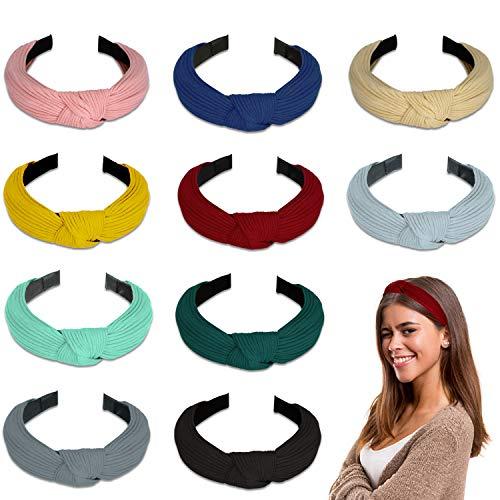 Winpok Stirnband Damen,10 Stück Kopfband Stirnbänder Eelastische Haarband Turban Knoten Hairband Frauen Haarreifen Damen Sport Yoga Dusche Stirnband Haar Zubehör (Bunt)