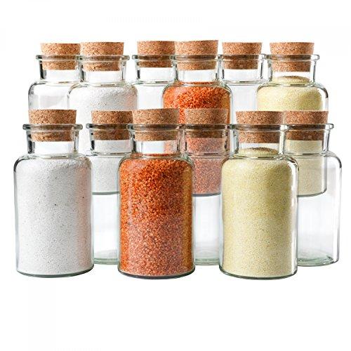 Mambocat 12er Set Gewürzgläser | Füllmenge 300 ml | wiederverwendbare Glasdose + Korkverschluss | hochwertiges rundes Glas | Aufbewahrung von Tee Kräutern Gewürzen