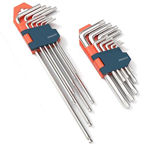 Presch Innensechskantschlüssel Set 18 teilig HX & TX - Profi Innensechskant Satz klein und kompakt mit Klapphalter