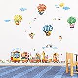 Decowall DA-1406 Zug Heißluftballons Autos Flugzeuge Tiere Wandtattoo Wandsticker Wandaufkleber Wanddeko für Wohnzimmer Schlafzimmer Kinderzimmer