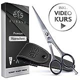 EINFÜHRUNGSANGEBOT - PURAVA Premium Haarschere - Extra scharfe Friseurschere inkl. edlem Etui - scharf & präzise - Idealer Haarschnitt für Damen und Herren - INKL. Videokurs