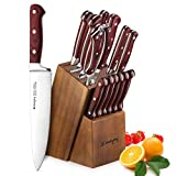 Emojoy Messerblock Set, Spitzenklasse Plus 15-teiliges Messerset, Kochmesser Set mit ergonomischem Holzgriff, rostfreiem und säurebeständigem Spezialklingenstahl, 1 Block aus Walnussholz, 1 Geflügelschere und 1 Wetzstahl