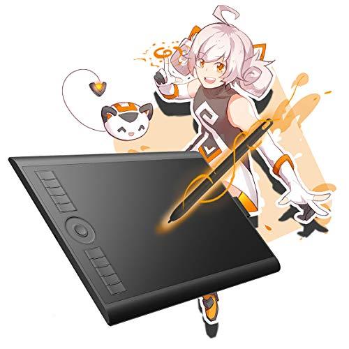 GAOMON M10K 2018 Version Stifttablett -10 x 6,25 Zoll Grafiktablett mit 8192 Druckempfindlichkeitsstufe Batterieloser Stift