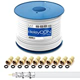 deleyCON HQ+ 50m SAT Koaxial Kabel 135dB - 5-Fach geschirmt für DVB-S - S2 DVB-T und DVB-C - 4K 1080p Full HD HDTV - inkl. 10x vergoldete F-Stecker