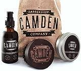 Camden Barbershop Company: Deluxe Bartpflege Geschenk-Set für Männer inkl. Walnussholz-Bartbürste, Bart-Öl & Bartwachs