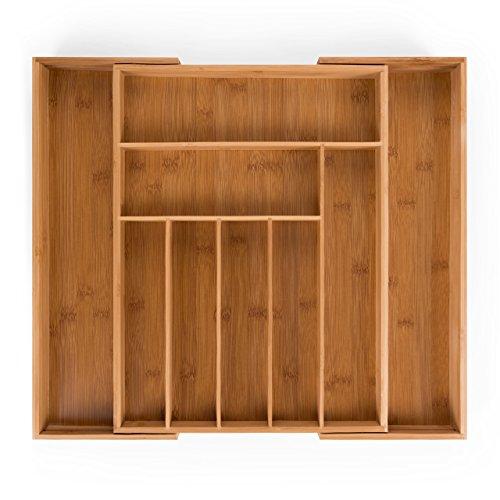 Blumtal Besteckkasten Holz | 7 bis 9 Fächer | Besteckeinsatz Für Schubladen | Schubladeneinsatz aus Bambus | Besteckschublade | Ausziehbar bis 50 x 44,5 x 5cm (BxLxH)
