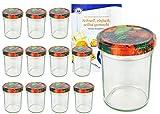 MamboCat 12er Set Sturzgläser 230 ml Hoch Deckelfarbe Obst Dekor To 66 inkl. Diamant Gelierzauber Rezeptheft, Marmeladengläser, Einmachgläser, Einweckgläser, Gläser