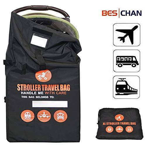 Beschan Verstärkt Standard Doppel XL Kinderwagen Transporttaschen Verdicken Tragetasche Faltbar mit Schulterriemen für Flughafen, Bahnhof, Autofahrten