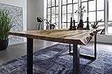 SAM Esszimmertisch 120x80 cm Ida, echte Baumkante, massiver Esstisch aus Akazienholz, Metallbeine schwarz, Baumkantentisch