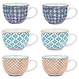 Nicola Spring Gemusterte Cappuccino, Kaffee, Tee Tassen im Vintage Stil - 6er Set