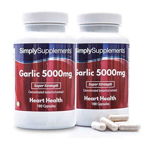 Knoblauch Kapseln 5000mg - 360 Kapseln (2 Behälter á 180 Kapseln) - Versorgung für bis zu einem Jahr - fördert das Blut-Kreislauf-System - Simply Supplements