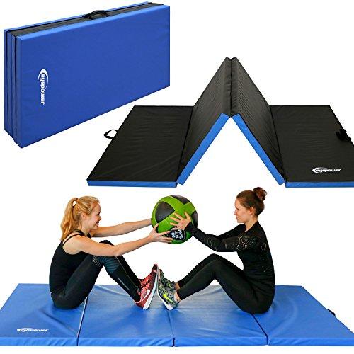 Eyepower XL Gymnastikmatte 240x120x5cm Turnmatte Sportmatte Weichbodenmatte Blau