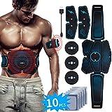 EMS Bauchmuskeltrainer USB Wiederaufladbar EMS Trainingsgerät für Arm Bauch Beine Bizeps Trizeps Abs Elektrostimulator 6 Modi 9 Intensitäten 10 Gratis Gelpads für Muskelaufbau und Fettverbrennung