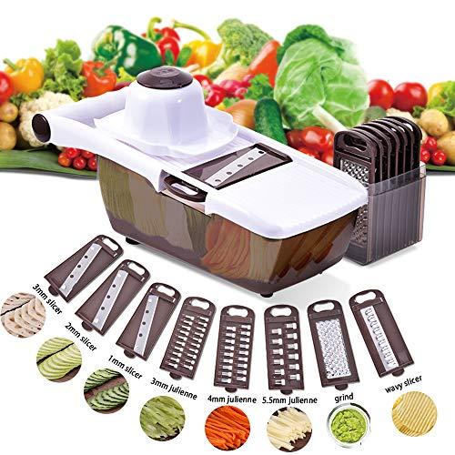 Comaie Mandoline Gemüsehobel, 8 in 1 Mehrzweck Gemüseschneider Küchenhobel Zwiebelschneider Kartoffelschneider Gemüsereibe Reibe Edelstahl Klingen für Gemüseschäler Gemüse und Obst …