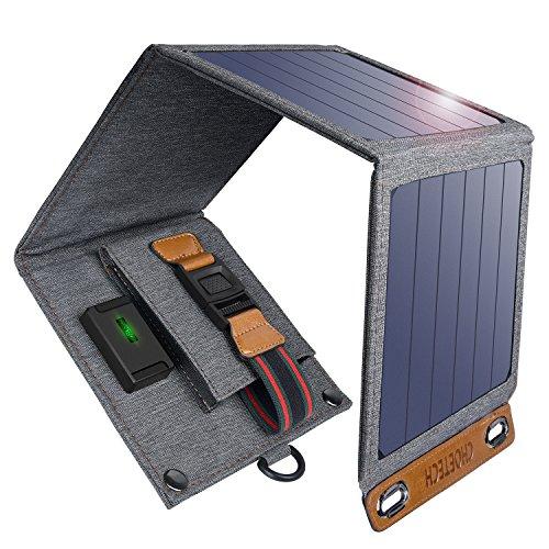 CHOETECH Solar Ladegerät, 14W Solarpanel Tragbares Leichtgewicht Outdoor für Alles Handys, iPad, Kamera, Tablet, Bluetooth Lautsprecher usw.