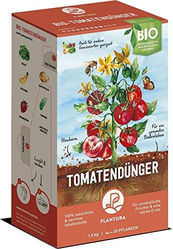 Plantura Bio Tomatendünger mit Langzeit-Wirkung, für eine aromatische & reiche Tomatenernte, biologisch, unbedenklich für Haus- & Gartentiere, für Balkon und Garten, 1,5 kg, Tomaten Dünger