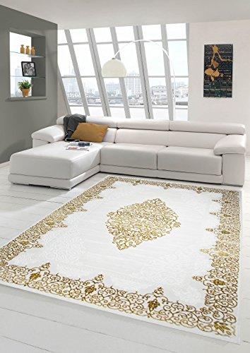 Traum Designer Teppich Moderner Teppich Wollteppich Meliert Wohnzimmerteppich Wollteppich Ornament Creme Beige Gold Größe 80 x 300 cm