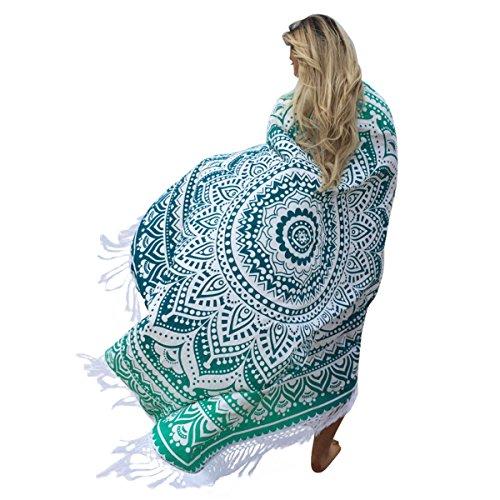 Grün Mandala Handwerk Quaste Runde Strandtuch Strand Yoga Matten Schal Schal Tapestry Chiffon Tischdecke Picknickdecke Schal