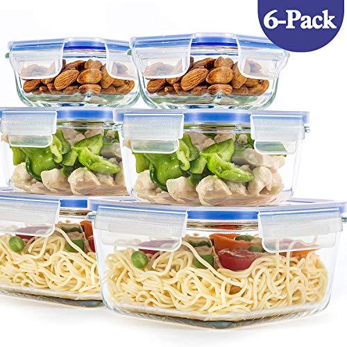 6er-Set Frischhaltedosen mit Deckel, Quadratische Lebensmittelbehälter aus Glas, BPA-Frei, Luftdicht