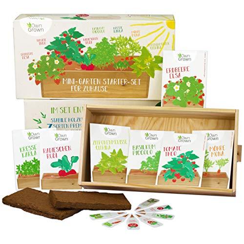 Saatgut Anzuchtset mit 7 Sorten, Mini-Garten Starter Kit von OwnGrown, Gemüse und Kräuter Samen Anzucht Set für die Fensterbank als Geschenk für Kinder und Familie