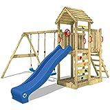 WICKEY Kletterturm MultiFlyer Spielturm mit Holzdach Garten-Spielplatz mit Schaukel und Rutsche, Kletterwand, blaue Rutsche