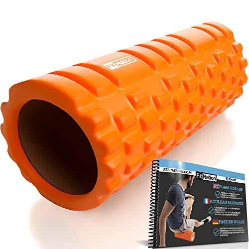 Fit Nation Faszienrolle - Foam Roller Set zur Selbstmassage mit Übungsbuch - Sport Massagerolle Für Anfänger, Profis, Damen & Herren - Orange