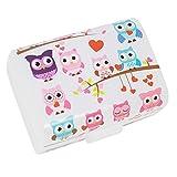 COM-FOUR Brotdose 'Eulen' für Unterwegs, Lunch-Box für Kinder, mit Trennwänden, 17 x 13 x 10 cm (01 Stück - 'Eulen')