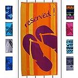 DecoKing 20494 Strandtuch 90x180 cm Baumwolle Frottee Velours Badetuch Duschtuch Orange Gelb Violett Yellow Violet Purple Reservation