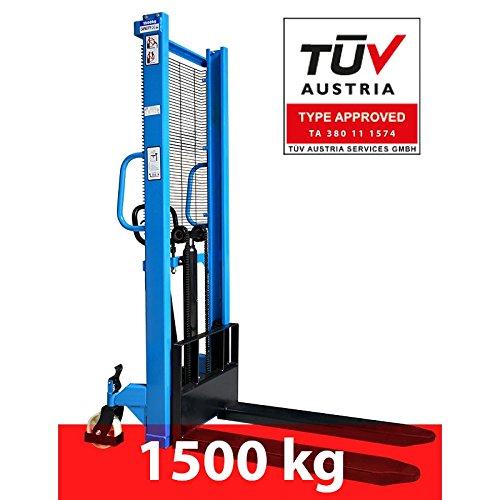 Hochhubwagen Hubwagen Stapler Deichselstapler Handstapler 1600mm 1500Kg TÜV