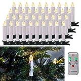 LARS360 LED Kerzen Weihnachts Kerzen Kabellos mit Fernbedienung Christbaumkerzen Flammenlose Lichterkette Kerzen für Weihnachtsbaum, Weihnachtsdeko, Feiertag - 40 Stück Warmweiß Weihnachtskerzen