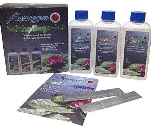 AQUAPREM 1 Teichpflege Set Teichreiniger in 3 Phasen Wasseraufbereiter, Teichklar und Algenstopp plus Teststreifen