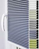 Home-Vision Premium Doppelplissee Wabenplissee ohne Bohren mit Klemmträger / -fix (Weiß-Graphit, B80cm x H120cm) Zweifarbig Blickdicht Sonnenschutz Jalousie für Fenster & Tür