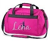 Sporttasche mit Namen   personalisieren & bedrucken   Motiv Ballett-Tänzerin   Reisetasche Umhänge-Tasche für Mädchen   inkl. Namensdruck