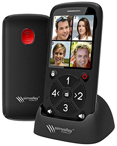 simvalley communications Seniorenhandy 5 Tasten: 5-Tasten-Senioren-Handy mit Garantruf Premium, Radio und Ladestation (Großtastenhandy)