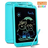 Richgv Bunte 12 Zoll LCD Writing Tablet mit Anti-Clearance Funktion und Stift, Digital Ewriter Grafiktabletts Mini Schreibtafel Papierlos Notepad Doodle Board für Kinder Über Jahre 3 (Blau)